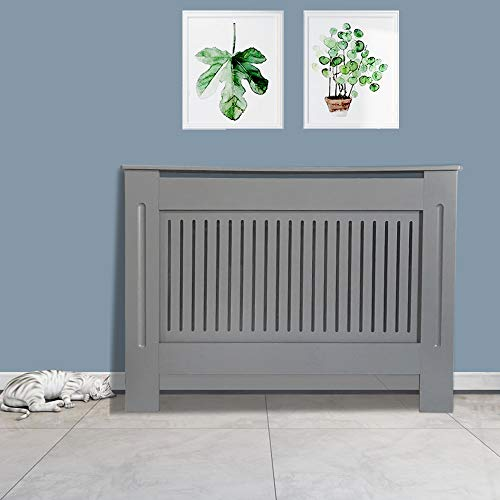 NRG Radiator Cover Grey MDF Painted Cabinet Mordern Home Funiture Vertical Medium 1120 x 815 x 190mm - Shoppersbase
