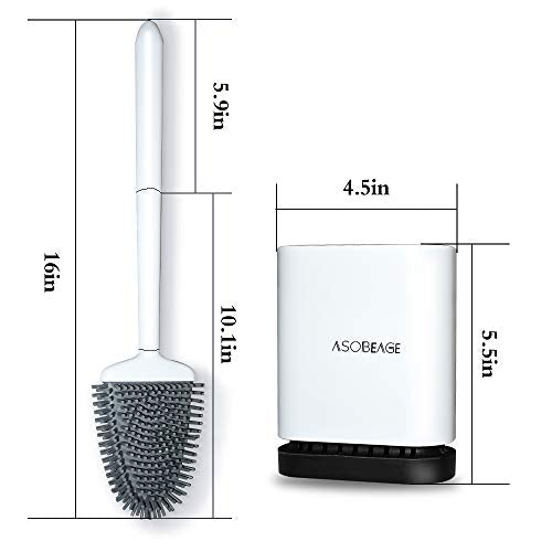 ASOBEAGE Toilet Brush,Deep Cleaner Silicone Toilet Brushes with No-Slip Long Plastic Handle and Flexible Bristles, Silicone Toilet Brush with Quick Drying Holder Set for Bathroom Toilet - Shoppersbase