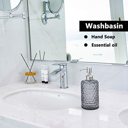 EASY-TANG 16 Oz Grey Glass Soap Dispenser - Refillable Wash Hand Liquid, Dish Detergent, Shampoo Lotion Bottle with Brushed Nickel Pump Holder, Ideal for Bathroom Countertop, Kitchen, Laundry Room - Shoppersbase
