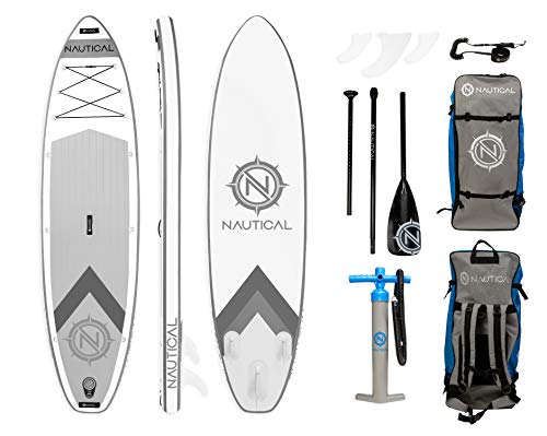 iROCKER Nautical Inflatable Paddle Board | White - Shoppersbase