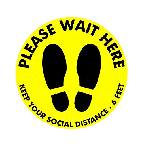 "Inawayls Safety Signs and Stickers Social Distance Floor Signs Keep Your Social Distance - 6 Feet Anti-Slip Round 11.8"" (11.8 x 11.8 inch, PLEASE WAIT HERE) - Shoppersbase"