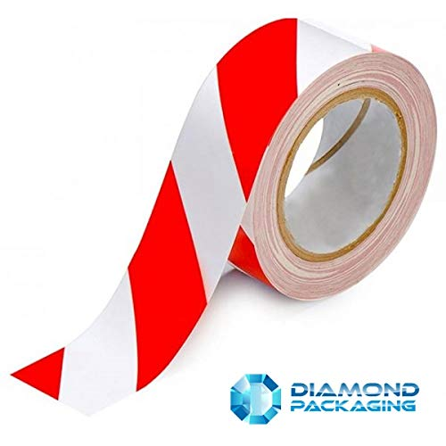 Diamond Packaging - 1 Roll - Hazard/Warning Safety Tape Colours Red & White Size 48mm x 33m - Shoppersbase