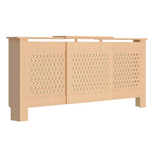 fam famgizmo Cross Pattern Radiator Covers Cabinet Modern Home Furniture MDF UnPainted Heater Cabinet - Adjustable W140-192xH81.5xD19cm - Shoppersbase