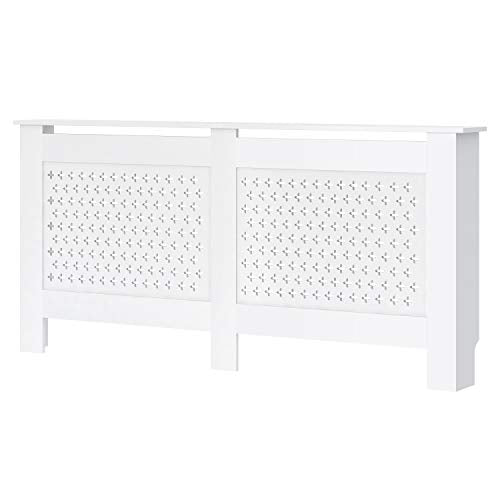 Famgizmo Radiator Cover, White Painted Radiator Cover, Cross Design Slats Modern MDF Heating Cabinet Home Furniture, Extra Large - Shoppersbase