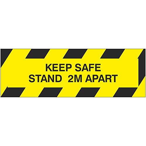 Social distancing zone sign. KEEP SAFE STAND 2M APART. Self adhesive sticker to fight the spread of viruses. 300mm x 100mm - Shoppersbase