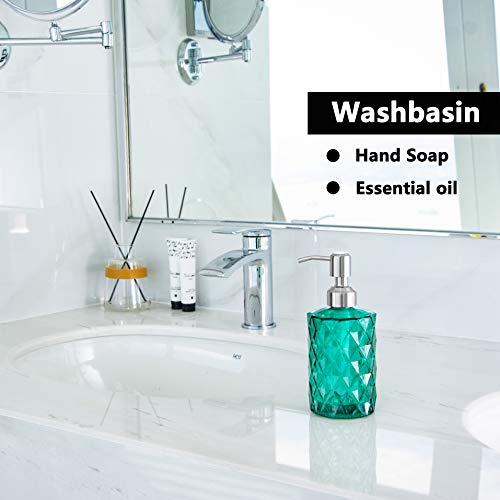 Easy-Tang 12 Oz Glass Soap Dispenser - Refillable Wash Hand Liquid, Dish Detergent, Shampoo Lotion Bottle with Brushed Nickel Pump, Ideal for Bathroom Countertop, Kitchen Sink, Laundry Room (Green) - Shoppersbase