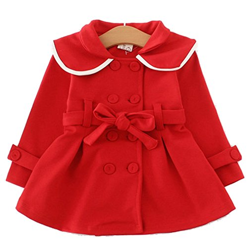 Baby Girls Long Sleeve Outwear Windbreaker Coat(Red,6-12m) - Shoppersbase