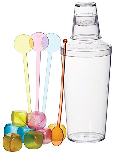 BarCraft Cocktail Making Set with Cocktail Shaker, Reusable Ice Cubes and Stirrers, Plastic, 13 Pieces - Shoppersbase