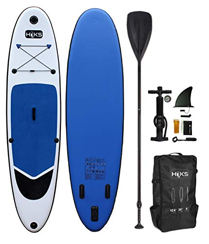 HIKS Navy 10.6ft / 3.2m Stand Up Paddle Board SUP Set Inc Paddle, Pump, Backpack & Leash Suitable all Abilities Ideal Beginners Inflatable Paddleboard Kit - Shoppersbase