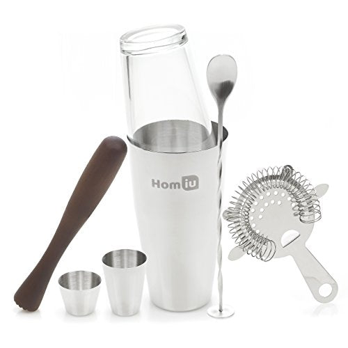 Homiu Cocktail Bar Gift Set 7 Piece Deluxe Stainless Steel Gift Set Includes 25 and 50 Millilitres Bar Measures Twisted Bar Spoon Strainer Wooden Muddler and Elegant Gift Box Recipe Book - Shoppersbase
