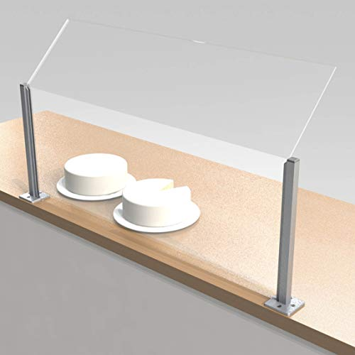 Angled Counter Sneeze Screens with 100mm spacer | Food Display Guards | UK (1 Meter Wide) - Shoppersbase