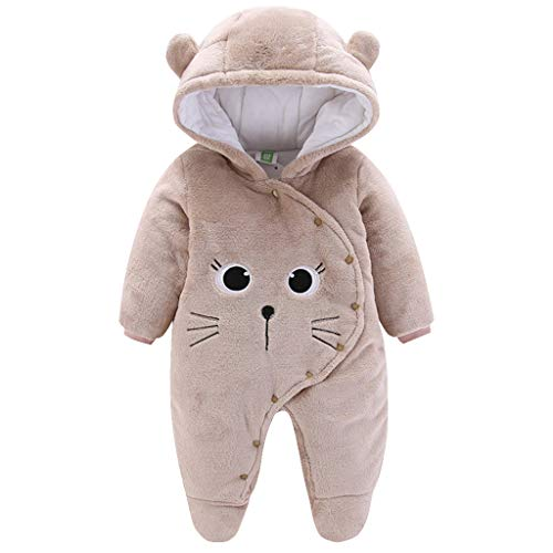 Baby Winter Hooded Romper Fleece Snowsuit Jumpsuit Cartoon Cat Outfits Coffee, Brown, 3 - 6 Months - Shoppersbase