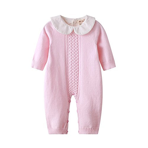 Auro Mesa Infant Baby Peter pan Collar Knitted Clothes Baby Outfits Baby Jumpsuit Pink, Blue (3-6M, Pink) - Shoppersbase