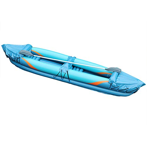 Inflatafun 2 Man Inflatable Kayak Aluminium Oars Person Canoe Boat Blow Up Paddle Water Raft - Shoppersbase