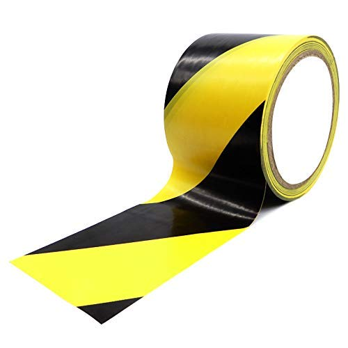 Reemky Safety Tapes 2 Pack 45mm x 20m Ultra-Adhesive, Black & Yellow Hazard Tape for Floor Marking. Mark Floors & Watch Your Step Areas for Safety with High-Visibility, Anti-Scuff - Shoppersbase