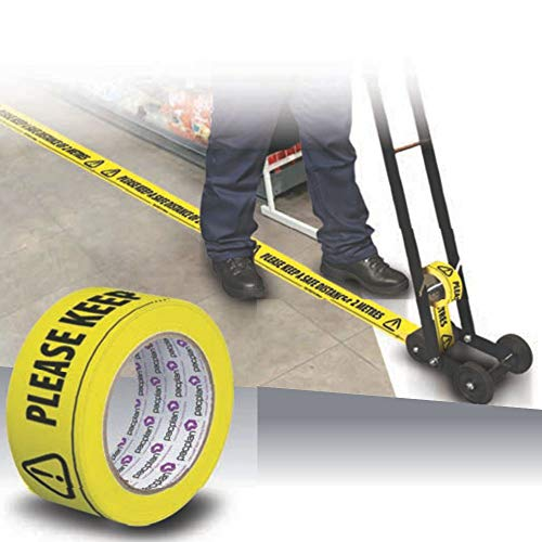 50mm Wide Floor Marking Tape - Please Keep a Safe Distance - Shoppersbase