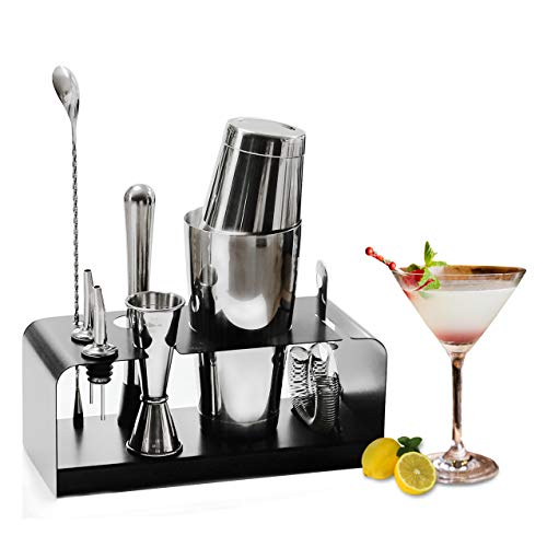 SKYFISH Bartender Kit: 8-Piece Bar Tool Set with Stainless Steel Stand - Perfect Home Bartending Kit and Martini Cocktail Shaker Set. - Shoppersbase