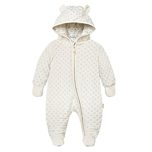 Baby Hooded Fleece Romper Snowsuit Infant Footed Onesies Fall Winter, Beige 9-12 Months - Shoppersbase
