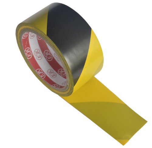 FiveSeasonStuff High Strength Adhesive Single-Sided Black and Yellow Standard Hazard Safety Warning Floor Tape for Social Distancing, Strong and Water-Resistant Tape (4.5 cm x 17 meters) - Shoppersbase
