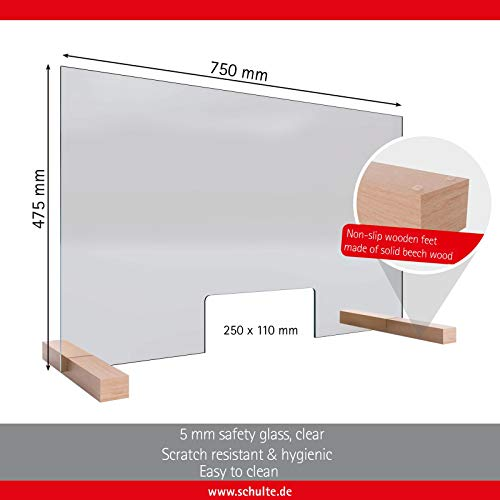 Immediately Available: Protective Screen and Sneeze Protection Made of 5 mm Safety Glass (ESG), Transparent, 75 x 48 cm, Counter top with Hatch, Made in Germany by Schulte, 475750 … - Shoppersbase