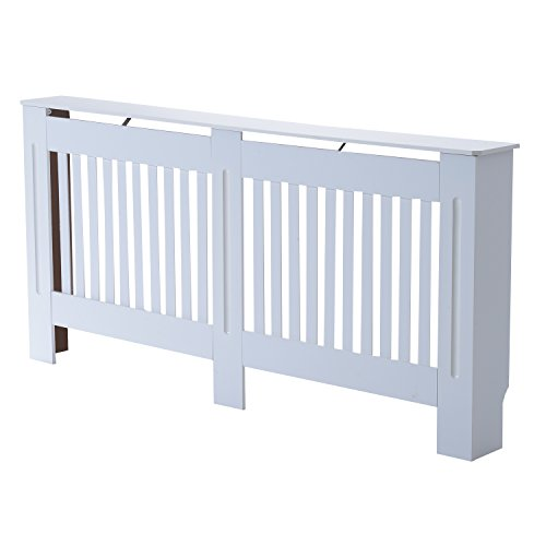 HOMCOM Slatted Radiator Cover Painted Cabinet MDF Lined Grill in White (172L x 19W x 81H cm) - Shoppersbase
