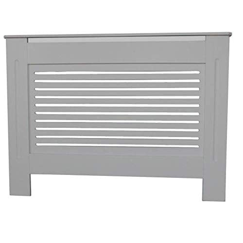 AVC Designs Kensington Radiator Cover Modern MDF Wood Medium Grey Horizontal Slat Design Cabinet - Shoppersbase