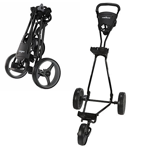 Caddymatic Golf Continental 3 Wheel Folding Golf Push/Pull Trolley Black - Shoppersbase