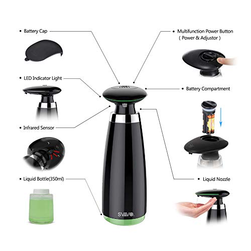 SVAVO Soap Dispenser Automatic Touchless Countertop Liquid Soap Dispensers with Smart Infrared Sensor Pump for Bathroom Kitchen Hand Washing, 3 Adjustable Soap Dispensing Volume, 350ml/11.8oz, Black - Shoppersbase