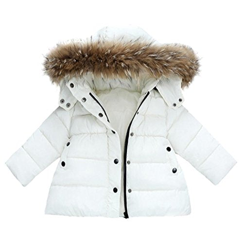 Baby CoatKEERADS Baby Boys Girls Snowsuit Winter Warm Zip Button Hooded Down Jacket Outerwear (0-12Months, White) - Shoppersbase