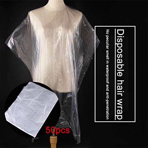 Fangteke Hair Cutting Capes, Disposable Salon Hair Cutting Gown, Waterproof Hair Salon Capes, Haircut Apron, Salon Barber Tools,Pack of 50 - Shoppersbase
