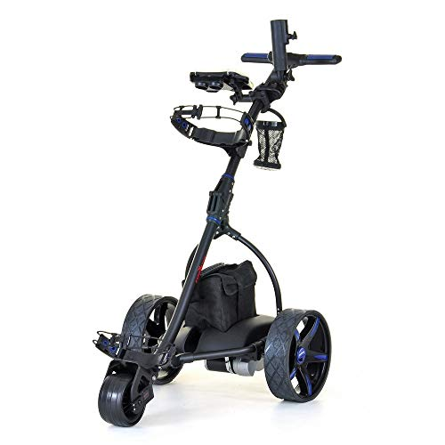 Caddymatic V2 Electric Golf Trolley/Cart With 36 Hole battery With Auto-Distance Functionality Black/Blue - Shoppersbase
