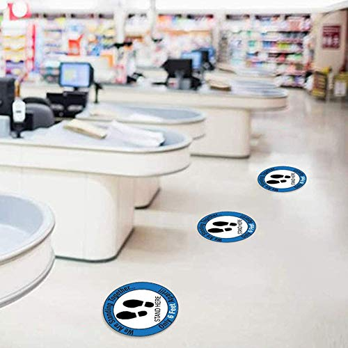 Please practice floor signs away from society, safetysigns,12roundpressuresensitiveadhesives, floor graphics social distance, warning tape footprint self,5 per package (XG002) - Shoppersbase