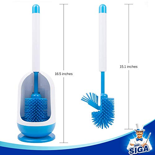 MR. SIGA Soft Bristle Toilet Brush Set - Pack of 2, Dia 12cm x 41cm Height, White and Blue - Shoppersbase