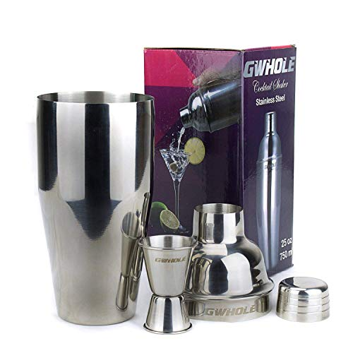 GWHOLE 3 pcs Cocktail Shaker Set 750 ml with Built-in Strainer, a Free Double Measurer Jigger & Recipes (e-Book) - Shoppersbase