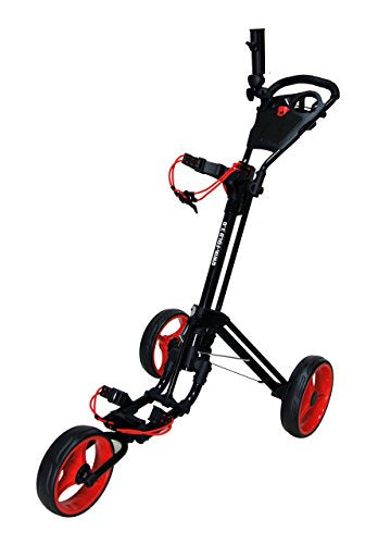 Qwik-Fold 3 WHEEL GOLF TROLLEY PUSH PULL GOLF CART - FOOT BRAKE - ONE SECOND TO OPEN & CLOSE! (Black/Red) - Shoppersbase