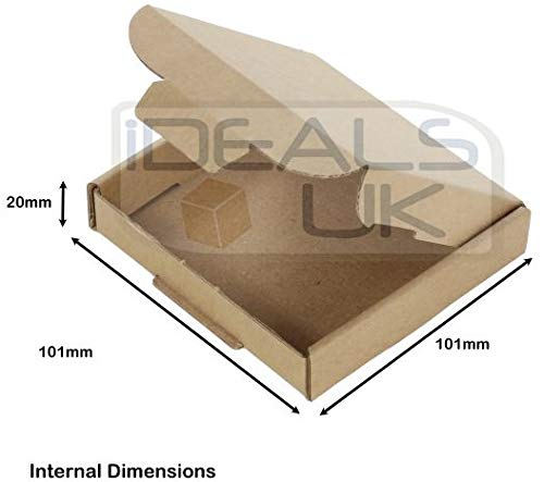 100 x Royal Mail Mini Large Letter Mailing Parcel PiP Cardboard Boxes ~ 101mm x 101mm x 20mm - Shoppersbase