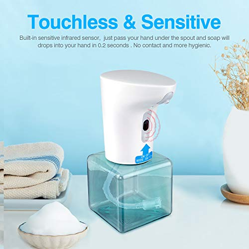 450ML Soap Dispenser, Touchless Foaming Soap Dispenser Hand Free Countertop Soap Dispensers with 2 Gears, Automatic Soap Pump for Bathroom Kitchen - Shoppersbase