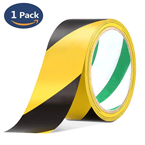 Reemky Safety Tapes 1 Pack 45mmX20m Black & Yellow Self Adhesive Hazard Warning Tape - Shoppersbase