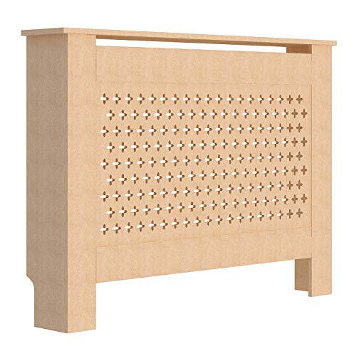 fam famgizmo Cross Pattern Radiator Covers Cabinet Modern Home Furniture MDF UnPainted Heater Cabinet - Medium W112.5xH81.5xD19cm - Shoppersbase