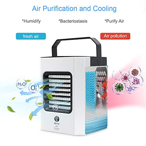 Portable Air Cooler, Mini Air Conditioner, 3 in 1 Personal Evaporative Cooler, Humidifier, Purifier with USB, 3 Speed Desktop Cooling Fan for Home, Room, Office - Shoppersbase