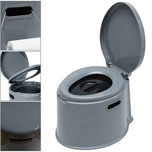 Large 5L Compact Portable Toilet Potty Loo With Washable Basket Toilet Roll Holder For Pool Partt Camping Caravan Picnic Fishing Festivals - Shoppersbase