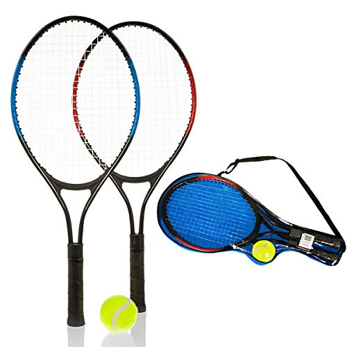 Hillington 2 Player Lightweight Aluminium Kids Tennis Metal Racquet and Ball Set – Garden Outdoor Children Sports Fun Game - With Carry Case - Shoppersbase