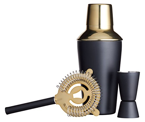 BarCraft Luxury Stainless Steel Cocktail Making Kit - Brass Finish (3-Piece Gift Set) - Shoppersbase