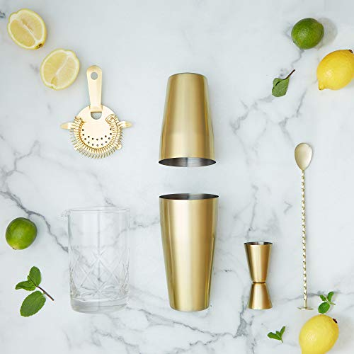 VonShef Cocktail Making Set with Glass Mixing Pitcher - Gold Boston Cocktail Shaker, 8 Piece Kit with Accessories, Gift Box Included - Shoppersbase