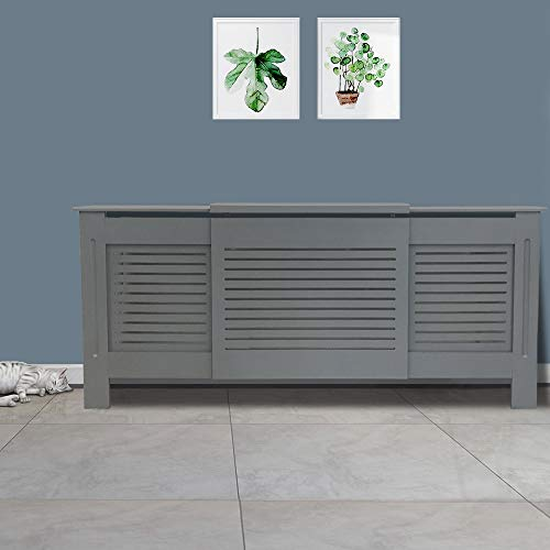 NRG Extendable Radiator Cover Grey MDF Painted Cabinet Mordern Home Funiture Horizontal 1400~2040 x 815 x 190mm - Shoppersbase
