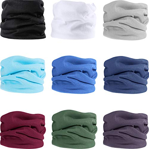 9 Pieces Outdoor Multifunctional Sport Headwear, Elastic Seamless Headband Face Bandana Mask, Neck Balaclava for Cycling, Fishing, Running, Outdoor Head Scarf UV Resistence (Solid color A) - Shoppersbase