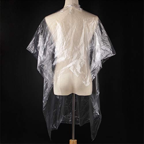 Hairdressing Capes, 50Pcs Disposable Hair Cutting Capes Transparent Waterproof Haircut Apron Hair Salon Capes for Adult Kids - Shoppersbase