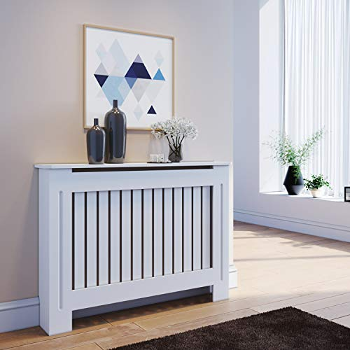 ELEGANT Radiator Covers Medium Modern Vertical Slat White Painted Cabinet Radiator Shelve for Living Room/Bedroom/Kitchen, MEDIUM - Shoppersbase
