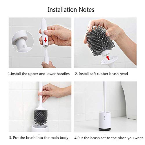 COSTOM Toilet Brush and Holder, Soft Silicone Brush with Quick Drying Holder Set (Floor) - Shoppersbase