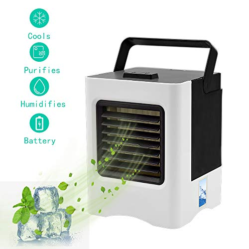Personal Air Cooler, Portable Mini Air Conditioner, 3 in 1 Evaporative Coolers, Humidifier, Purifier with USB, 3 Speeds Desktop Cooling Fan for Office, Home, Dorm, Travel - Shoppersbase